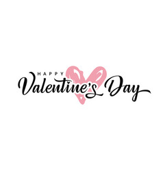 valentines day background with pink heart vector image
