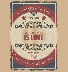 vintage colored romantic poster vector image