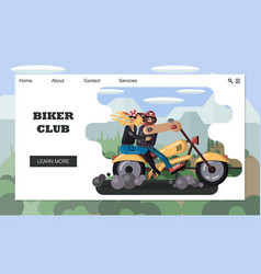 Website template biker club rocker subculture vector
