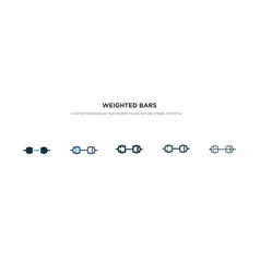 Weighted bars icon in different style two vector