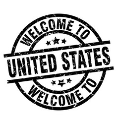 welcome to united states black stamp vector image