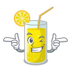 Wink glass fresh lemon juice on mascot vector