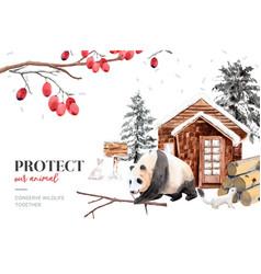 Winter animal frame design with ermine panda vector