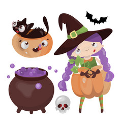 witch halloween hand drawn cartoon vector image