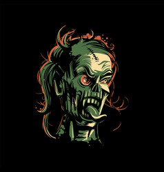Zombie women portrait on black background for vector