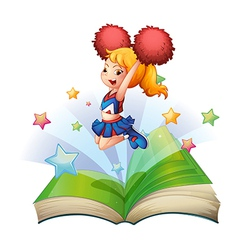 An open book with an image of a dancing vector image vector image