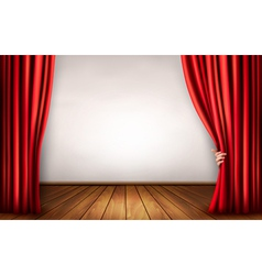 Background with red velvet curtain and hand vector image vector image
