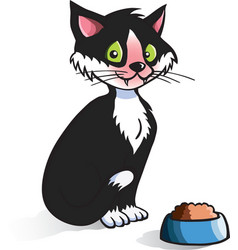 cartoon cat with food bowl vector image vector image