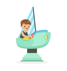 cute little boy playing on a toy ship kid have a vector image vector image