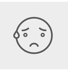 Exhausted smiley thin line icon vector image vector image
