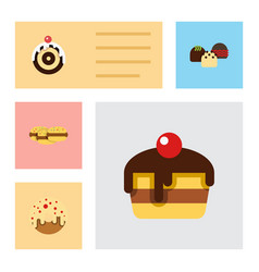 Flat cake set of pastry biscuit doughnut and vector