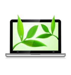 laptop with leaves vector image vector image