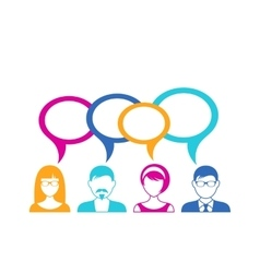 People icons with speech bubbles vector image vector image