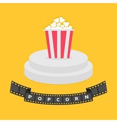 Round stage podium Popcorn red white box Film vector image vector image