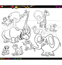 safari animals coloring book vector image vector image