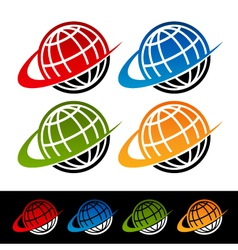 Swoosh earth logo icons vector