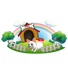 A dog in a doghouse with fence vector image vector image