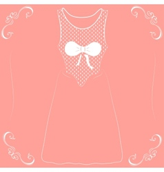 a wedding dress with a bow on a pink background vector image vector image