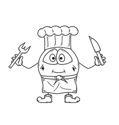 emoticon cook sketch vector image