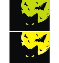 kat bats and moon halloween vector image vector image