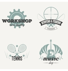 Set of retro labels vintage design vector image