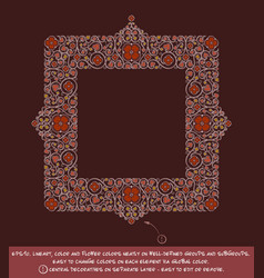 Square flower decorative ornaments - red wine vector