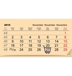 27 November 2015 Black Friday Sale Calendar vector image