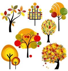 Abstract autumn trees vector