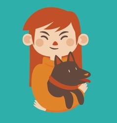 Cartoon Girl Holding her Pet Dog vector image