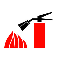 fire extinguisher and flames flat color icon vector image