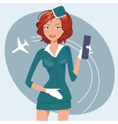 girl in stewardess uniform vector image