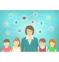 Modern Woman Teacher and Kids vector image