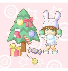 new year white rabbit kawaii vector image