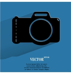 Photo camera Flat modern web button with long vector image vector image