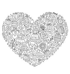 Set of wedding cartoon doodle objects vector