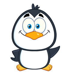 smiling cute penguin cartoon character vector image