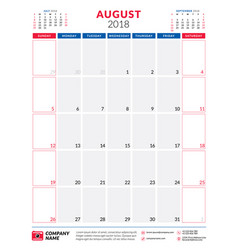 August 2018 calendar planner design template vector