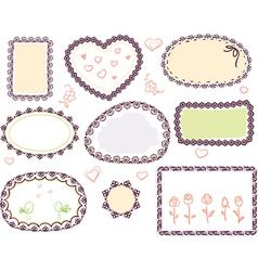 doodle floral frame set vector image vector image