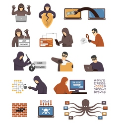 Internet Security Hackers Flat Icons Set vector image