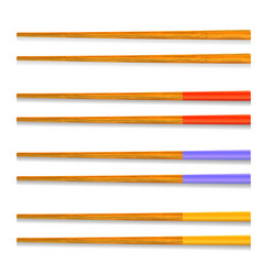 set of traditional colored asian chopsticks vector image