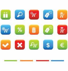 shopping icons 4 color set vector image vector image