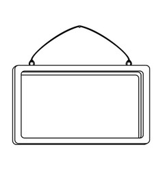 silhouette square painting frame icon vector image