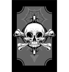 White human skull with two bones tattoo vector image