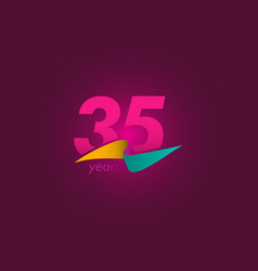 35 years anniversary celebration purple ribbon vector