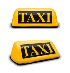 3d realistic yellow french taxi sign icon vector image
