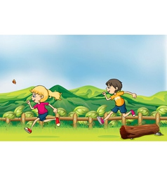 A boy and a girl jogging vector