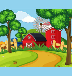 A green farmland landscape vector