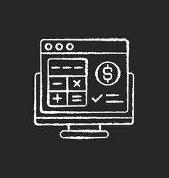 Accounting software chalk white icon on black vector