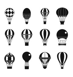 Air ballon icon set simple style vector