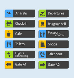 Airport Navigation Design Signboards Set vector